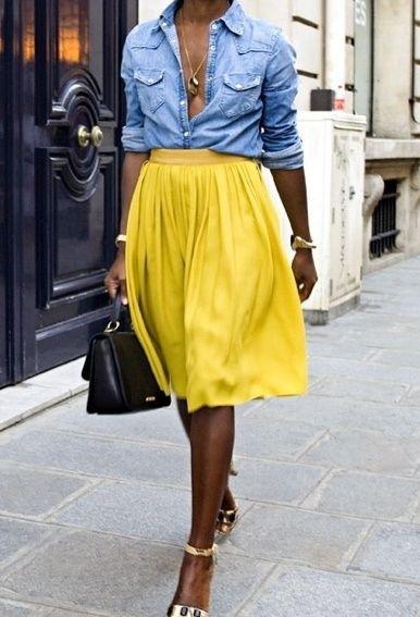 Denim top   yellow full skirt | 2.0 PTO | Pinterest | High waist ...