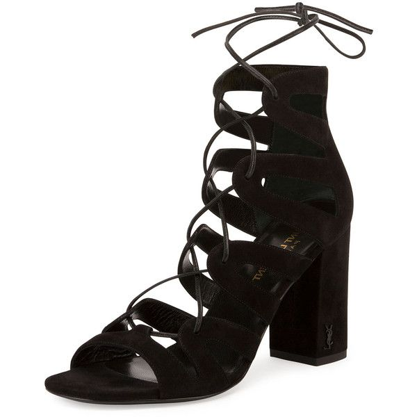 54d195aa5a789 Saint Laurent Babies Suede Lace-Up Sandal (13.216.585 IDR) ❤ liked on  Polyvore featuring shoes