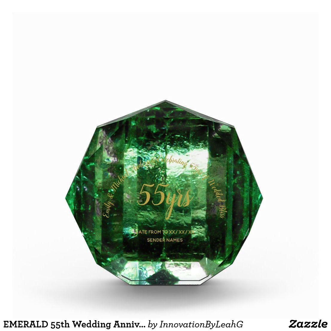 Emerald 55th Wedding Anniversary Green Crystal Acrylic Award