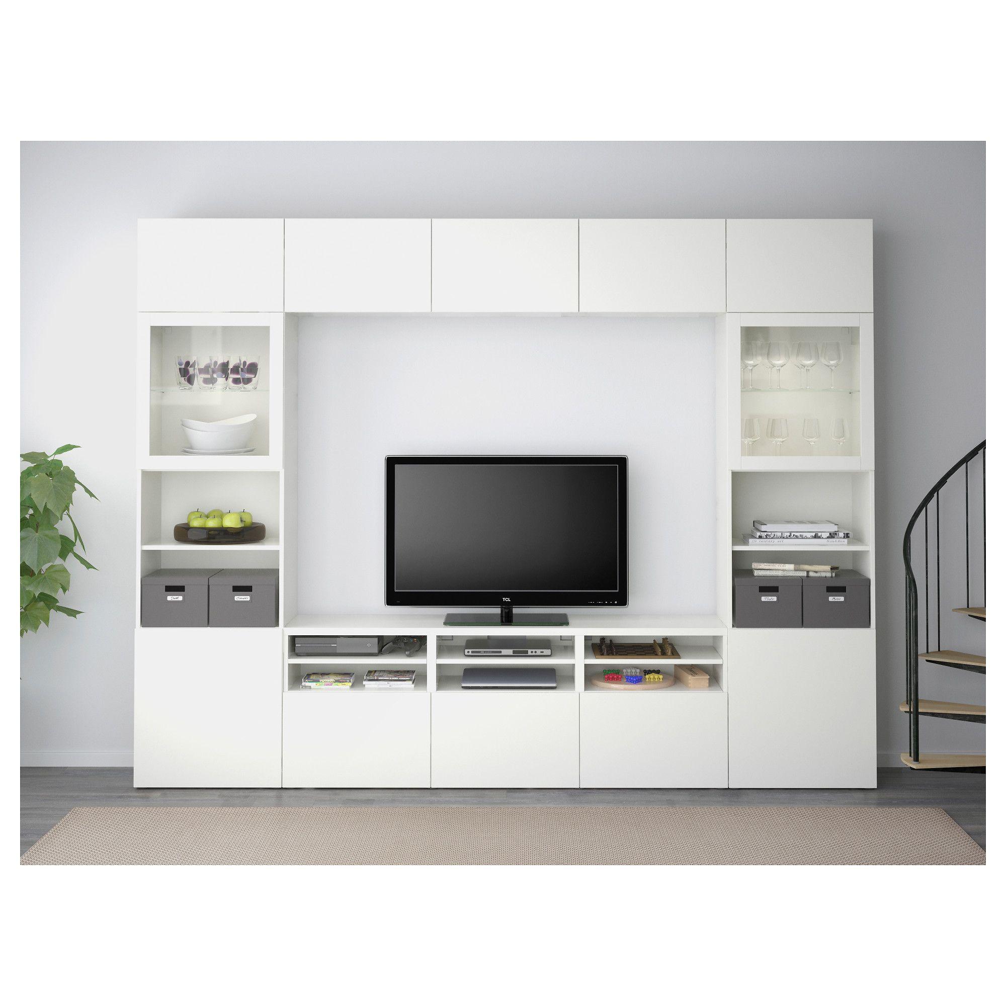 Attirant BESTÅ TV Storage Combination/glass Doors, Lappviken, Sindvik White Clear  Glass