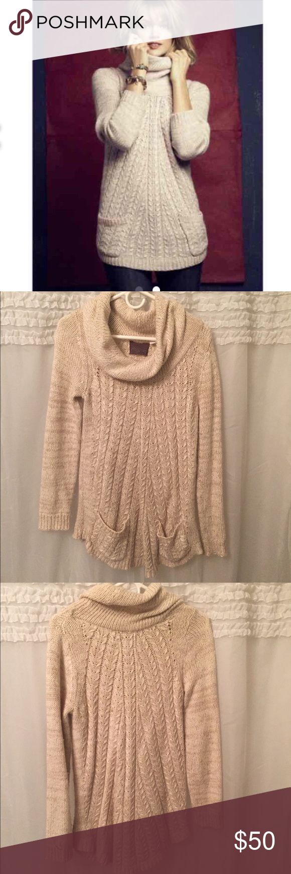 Anthropologie sweater tunic Cream colored thick sweater tunic. Has ...