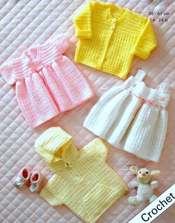 7dd18512935a Vintage Crochet Pattern Baby Summer Set Jacket Dresses Hoodie Coat ...