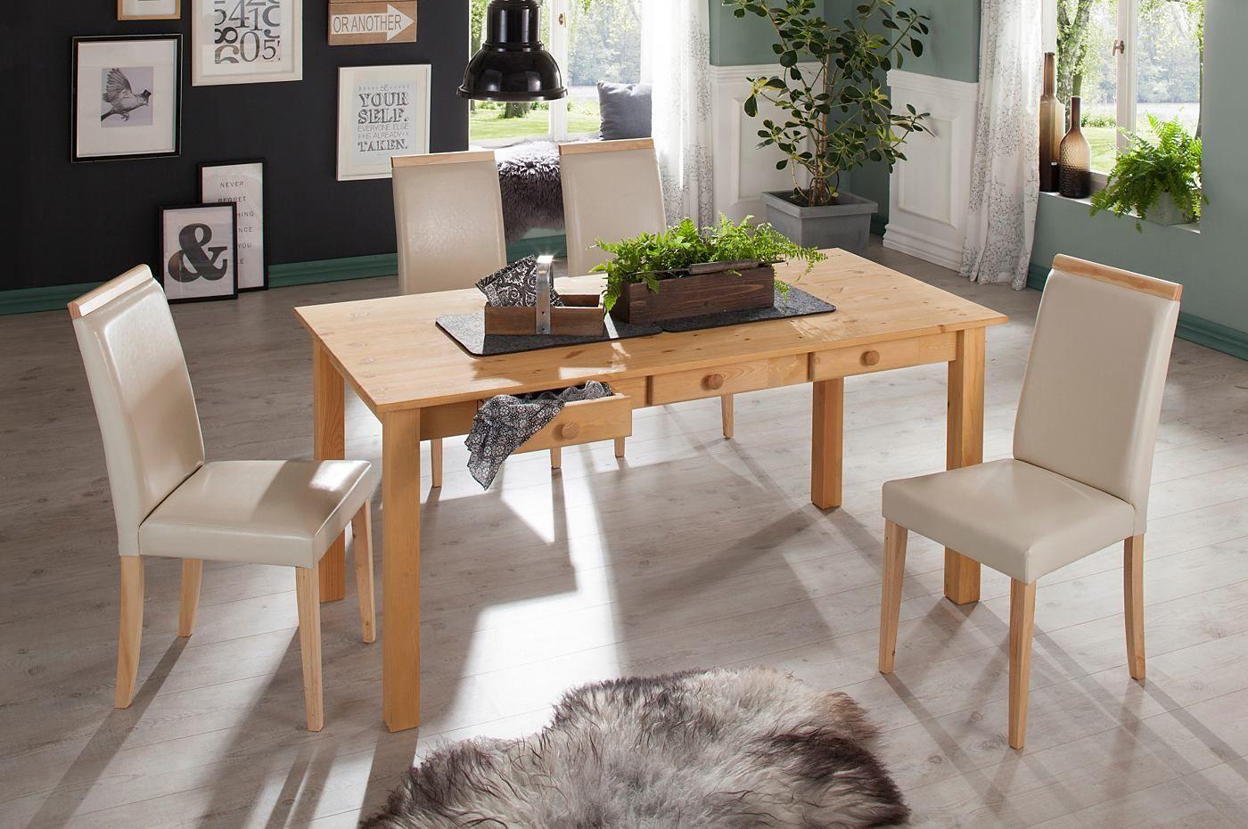 die essgruppe besteht aus einem tisch und vier stuhlen die stuhle sind mit pflegeleichtem kunstleder bezogen die stuhlbeine sowie der tisch sind aus