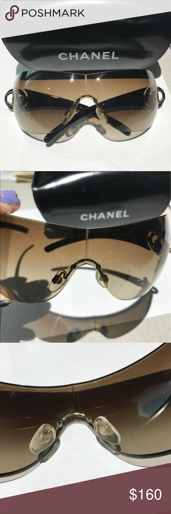 8cf209b4c1c Chanel 4145 Sunglasses Gradient Brown Lenses Chocolate frame size 01-34-115  Authentic 4145 349 13 plus case. The glasses and case are used I tried to  get ...