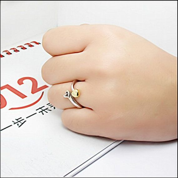 Sterling Silver Band Love Arrow  Single Heart and by judych2010, $24.00