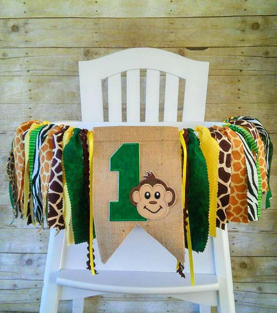 Monkey Safari Jungle 1st Birthday High Chair By Gigglesandwiggles1