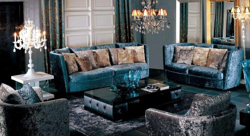 Velvet Fabric Sofa Set With Pillows Ax005