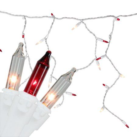 Set of 100 Red  Clear Mini Icicle Christmas Lights 3 inch Spacing