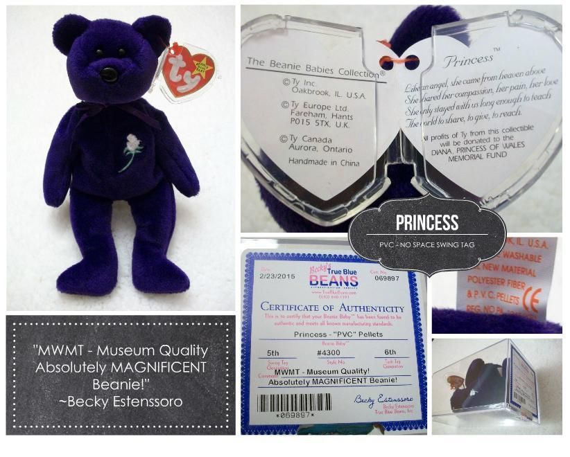 38765fb0a4b 1st Ed PRINCESS Diana Ty Beanie Baby Mint with Mint tags  AUTHENTICATED   PVC  NO SPACE No Stamp - Unique Gift!!