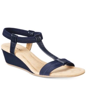 9aab7ab63 Alfani Women's Step 'N Flex Voyage Wedge Sandals, Created for Macy's - Blue  10.5M