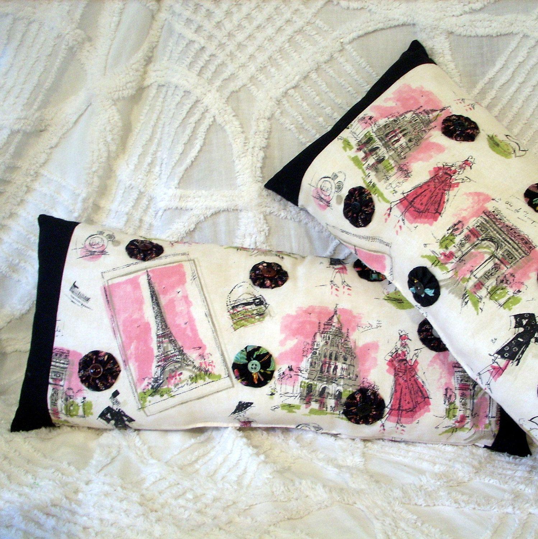 Paris Theme Bedroom Pillows Set Of 2 Handmade Decor Pink