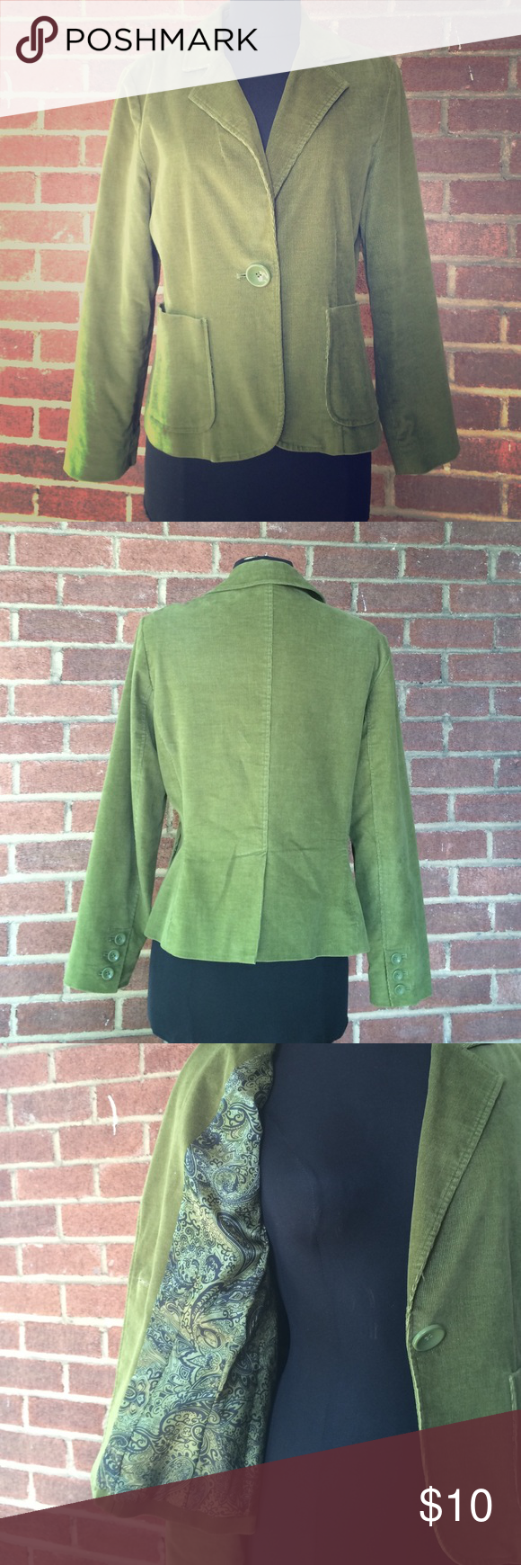 """Olive Green Corduroy Blazer Olive green corduroy blazer with single button closure. Two patch pockets. Lining is satin with a paisley print. Fabric has some stretch for ease of fit.  Chest measures 41.5"""". Larry Levine Jackets & Coats Blazers"""