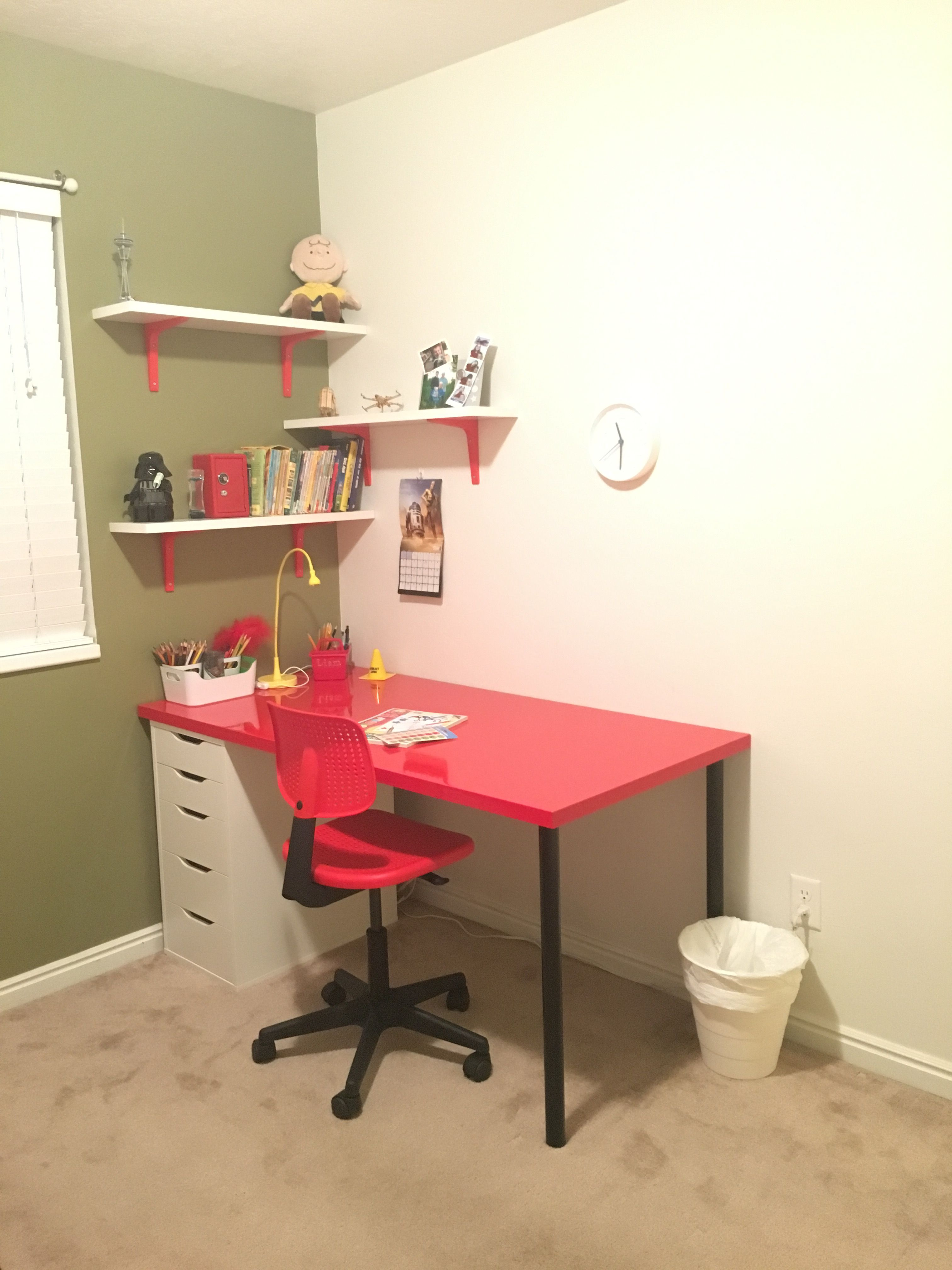 Pleasant Kids Red Desk And Shelves Desk Chair And Shelves Are Theyellowbook Wood Chair Design Ideas Theyellowbookinfo
