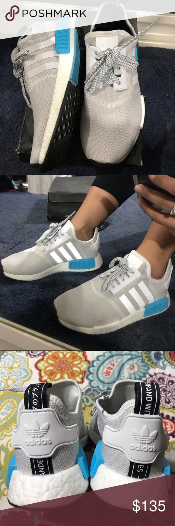6d2e16f99 Adidas White cyan NMD Size 4 Youth (but fit like size 5 womens) Adidas