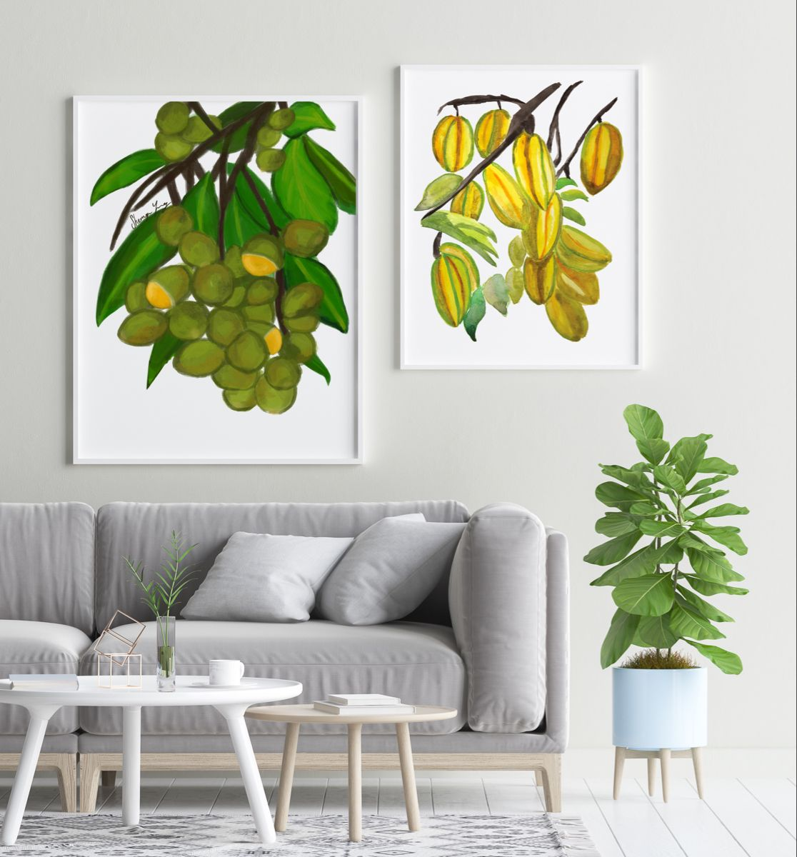 Guinep and Star Fruit Art Prints #jamaican #caribbean #trinidad #guyana #art #printsforsale #blackowned #blackownedbusiness