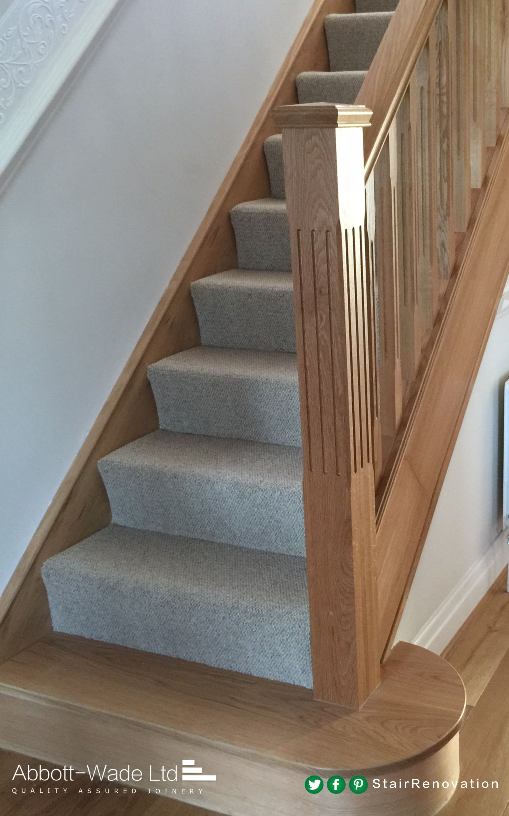 A Fluted Oak Newel Post With An Oak Feature Step. Wood Handrail, Timber  Staircase