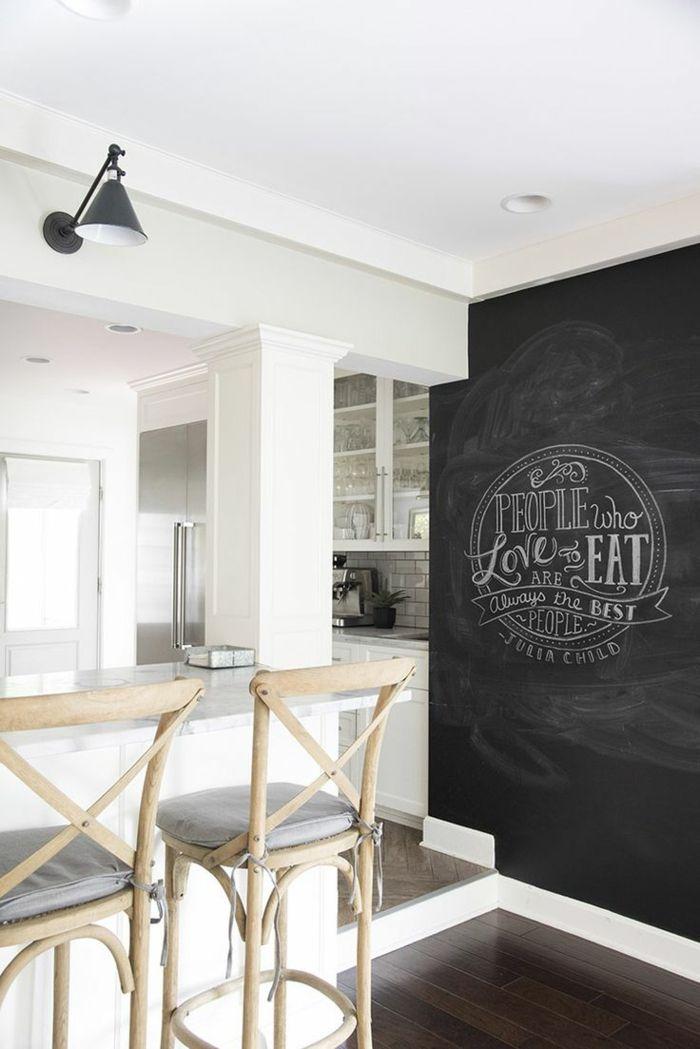 Wohnideen Küche Weiße Küche Mit Schwarzer Wandtafel