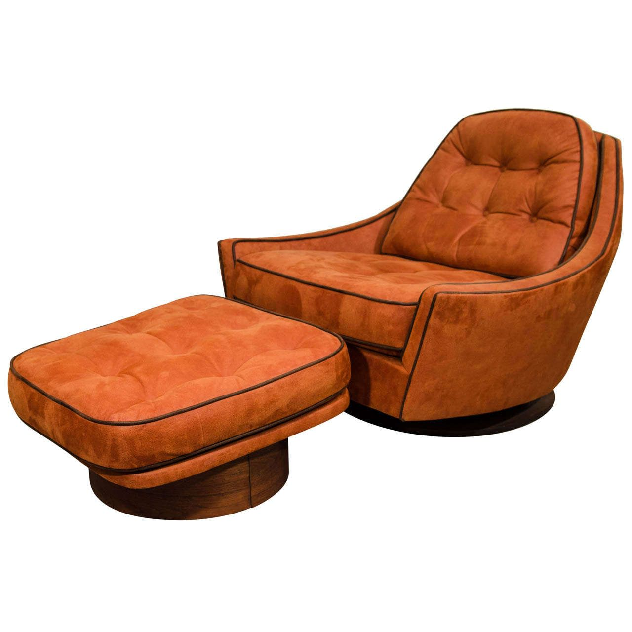 Vintage Swivel Club Chair And Ottoman