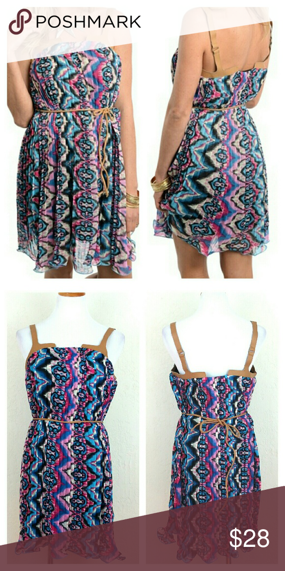 Chiffon Pleated Aztec Print Dress w/ Faux Leather Chiffon Pleated Aztec Print Dress w/ Faux Leather straps & tie. Lined. New in package.   No Trade or PP  Offers Considered  Bundle discounts Umgee  Dresses