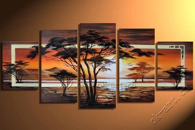 Genial ... On Canvas Suppliers: Handpainted 5 Piece Landscape Oil Paintings On  Canvas Wall Art Beautiful Scenery Tree Pictures For Living Room Home  Decoration