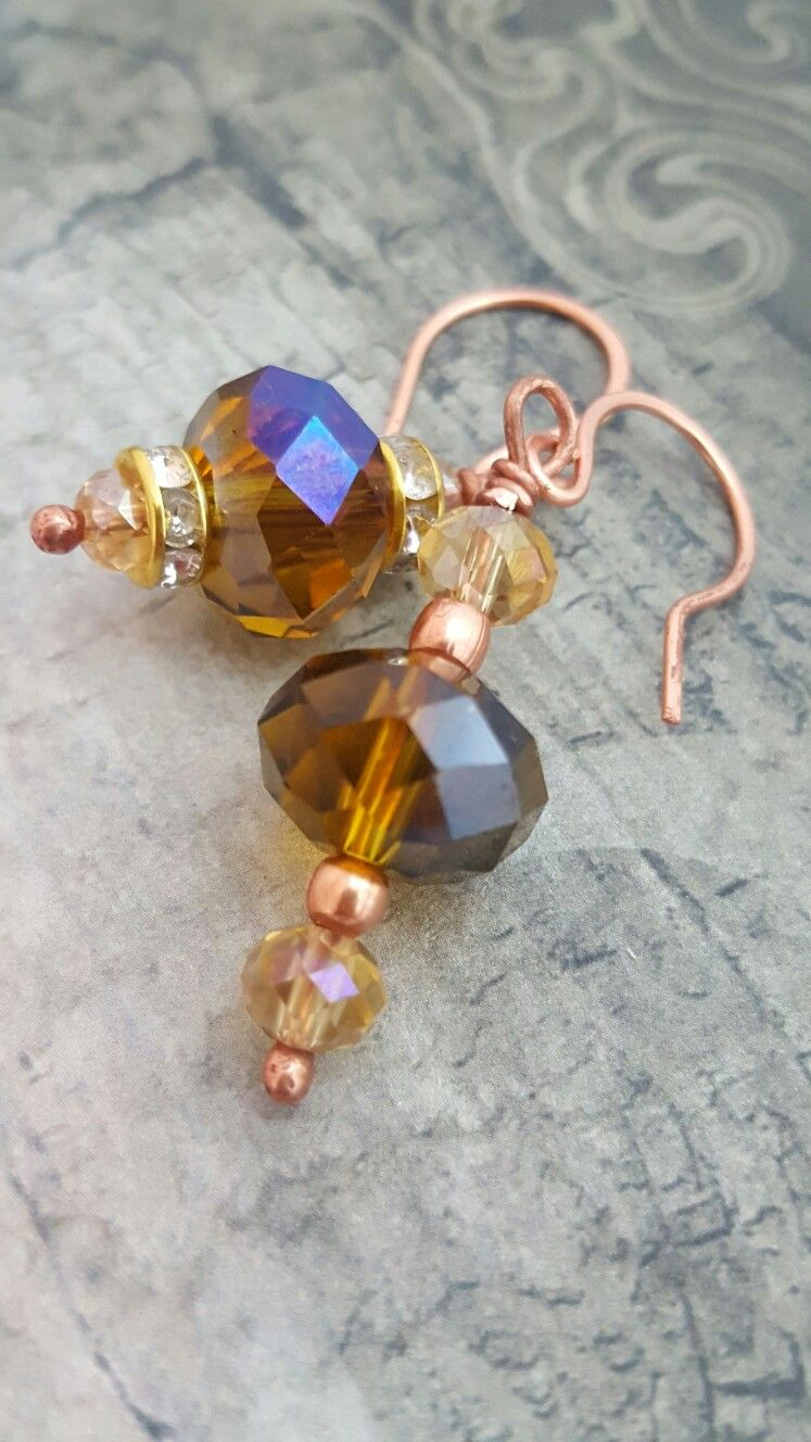 Copper earrings with crystals & copper beads