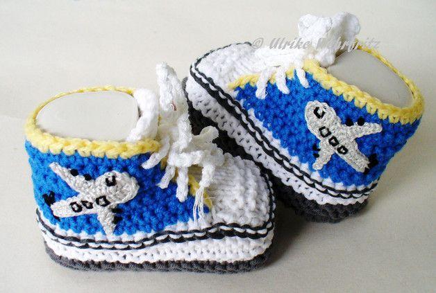 Strick- & Häkelschuhe - Babyschuhe Turnschuhe Fernweh - ein Designerstück von strickliene bei DaWanda