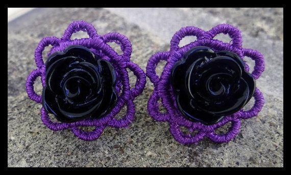 Purple Lace and Black Rosette Post Earrings - Vintage, Rockabilly, Indie, Punk, Retro - Poofhawk