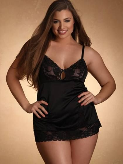 975c16270df #plussize #lingerie{Sexy Saturday} Black Satin Teddy by Hips and Curves