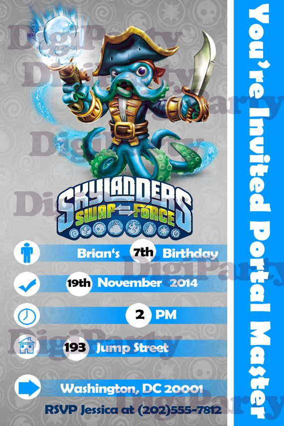 New Wash Buckler Skylanders Swap Force Birthday Party Personalized By DigiParty 999
