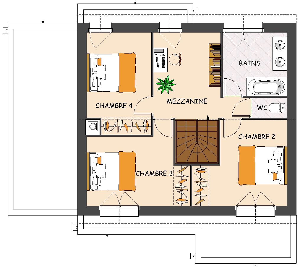 Plan de maison contemporaine 4 chambres avec mezzanine for Plans maisons contemporaine