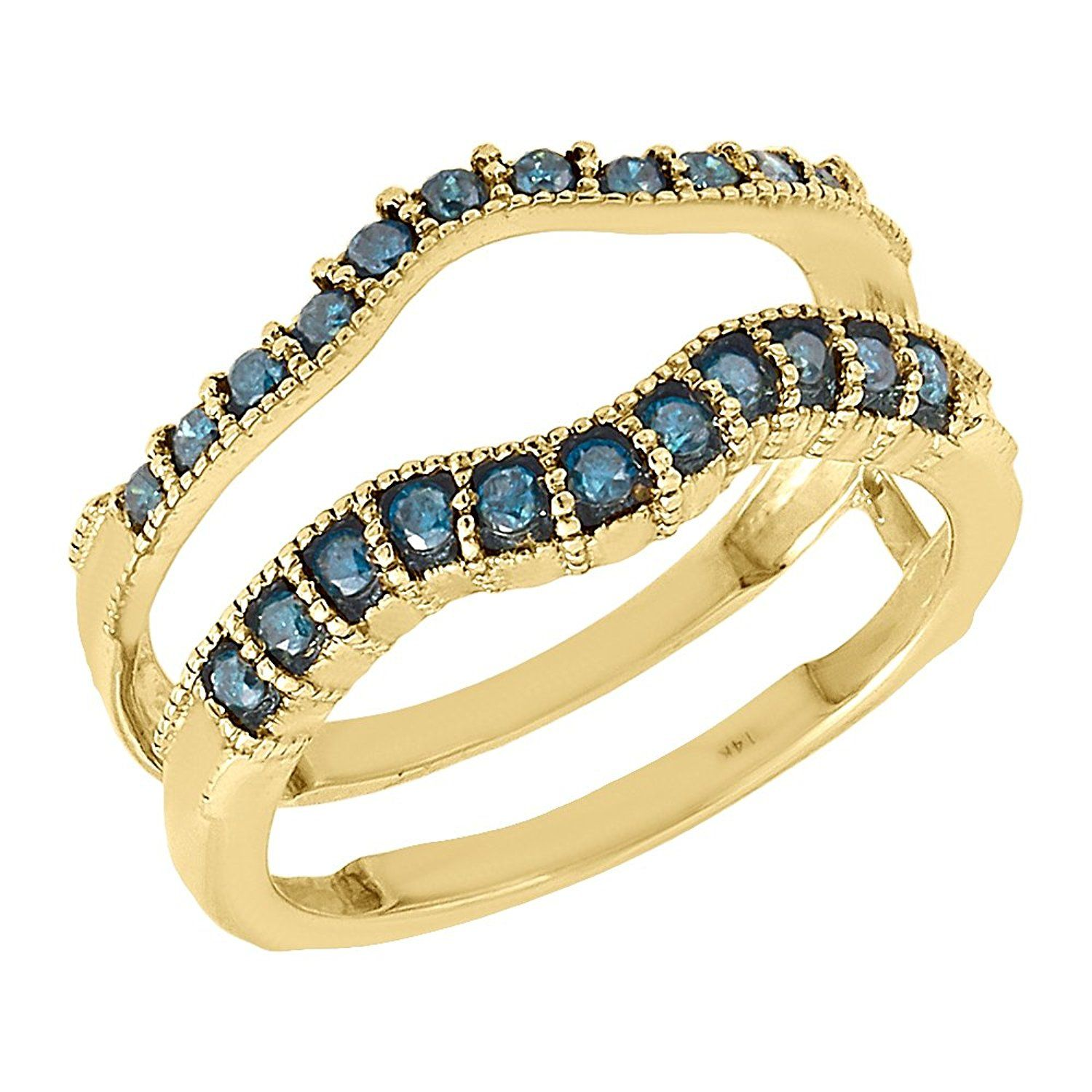 14K Yellow Gold Round Blue Diamond Solitaire Engagement