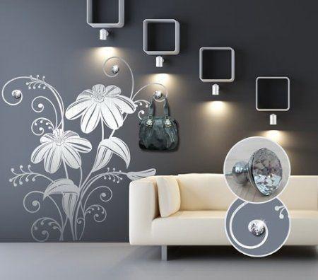 Adesivo murale appendiabiti fiori con gioielli misure for Adesivi per pareti