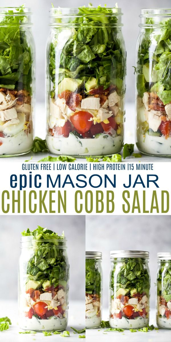 Epic Mason Jar Cobb Salad with Ranch - Easy Cobb S