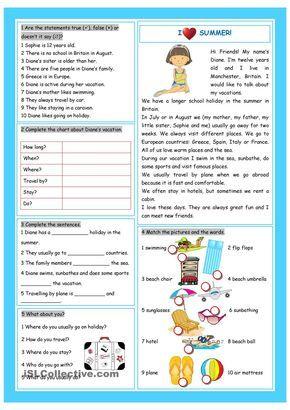 All Worksheets esl summer worksheets : Vacation (I Love Summer!) | nasreen | Pinterest | Simple, Student ...