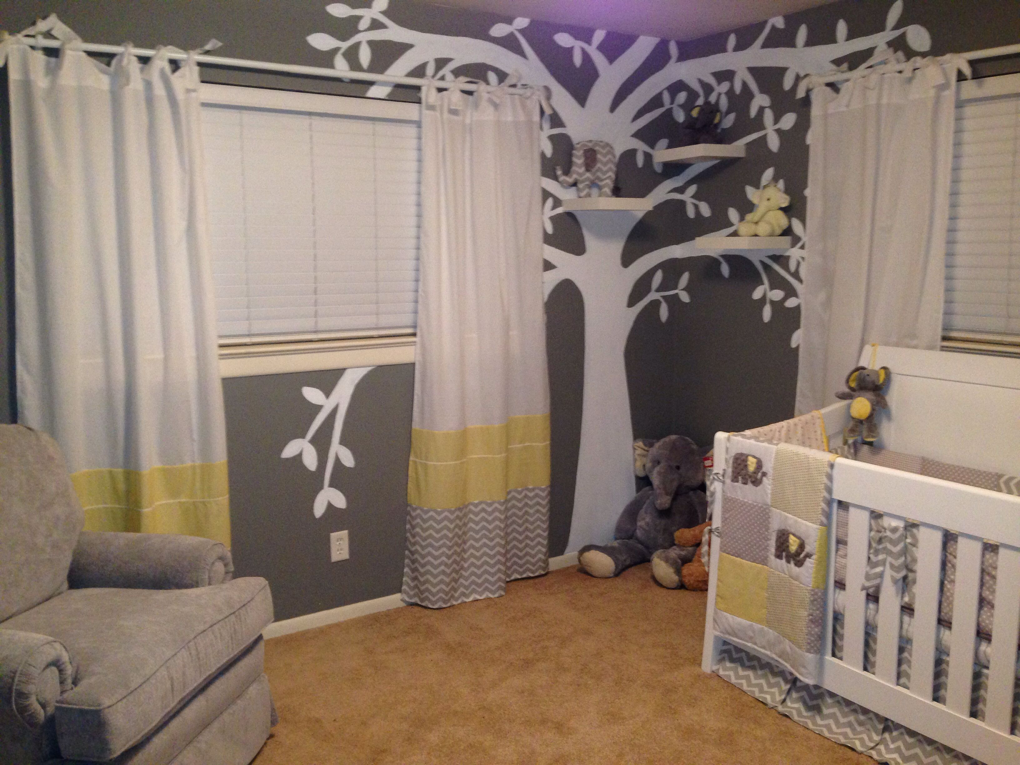 Josiah S Yellow Gray And White Elephant Themed Nursery