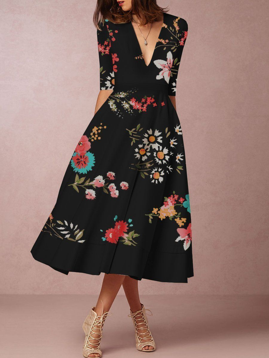 Flash Sale V-Neck Printed Skater Dress in 2019  73c1e1765