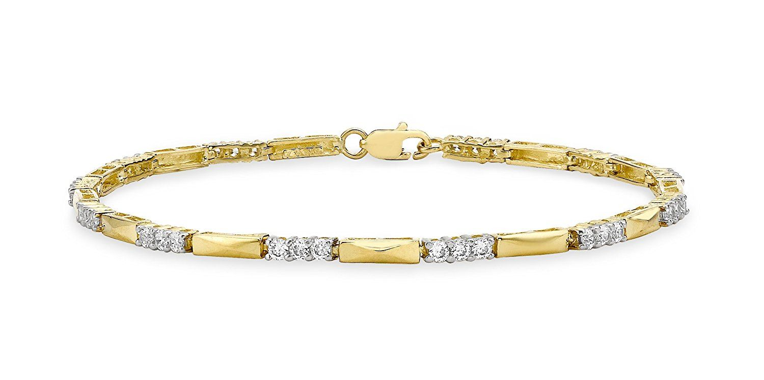 9272feb1064b6 Carissima Gold 9 ct Cubic Zirconia and Bar Link Bracelet of Length ...