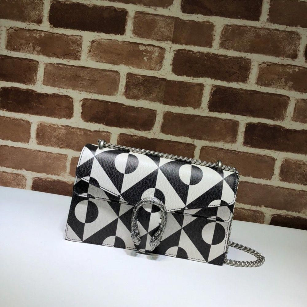 50d799a6cce Gucci Dionysus shoulder bag 400249 Black White Leather  replicahandbags