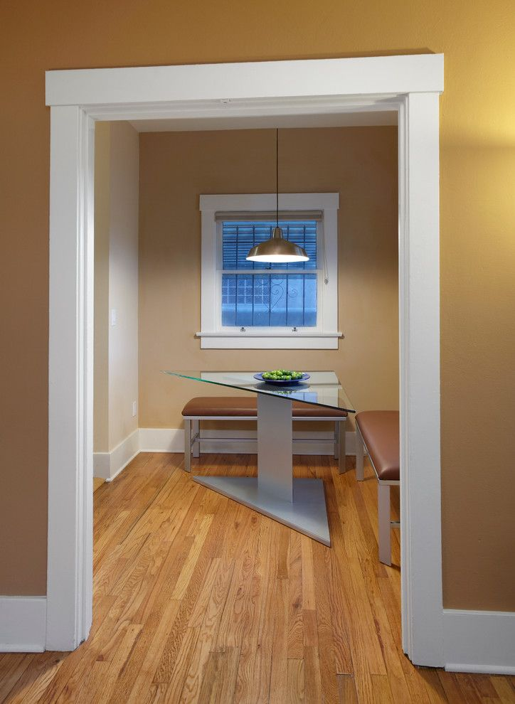 Baseboard Trim Style Beautiful Floor Glass Top Table Bench Chair Hanging  Lamp Window Contemporary Dining Room