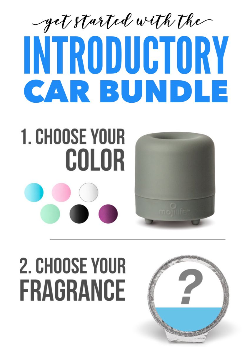 Discounted starter bundle for your car. You choose what color device you want and then pick your fragrance. You can clip it to your visor or simply put it in your car door or cup holder. #carfreshener #carmusthaves