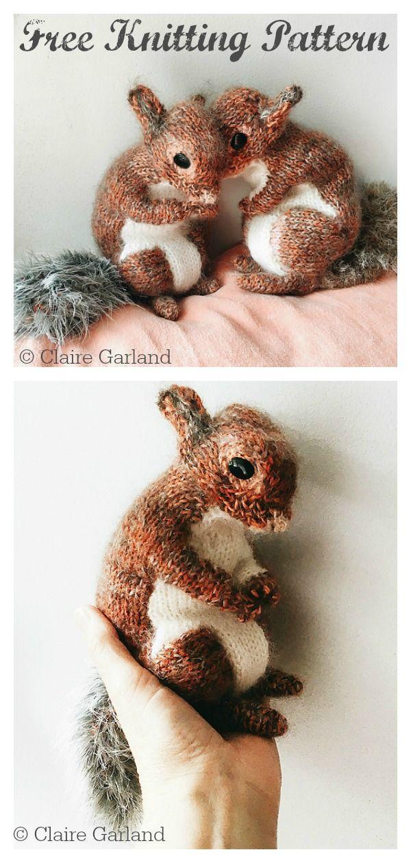 Squirrel Toy Free Knitting Pattern #freeknittingpattern  #knittinganimals  #knittingtoy  #knittingforkids