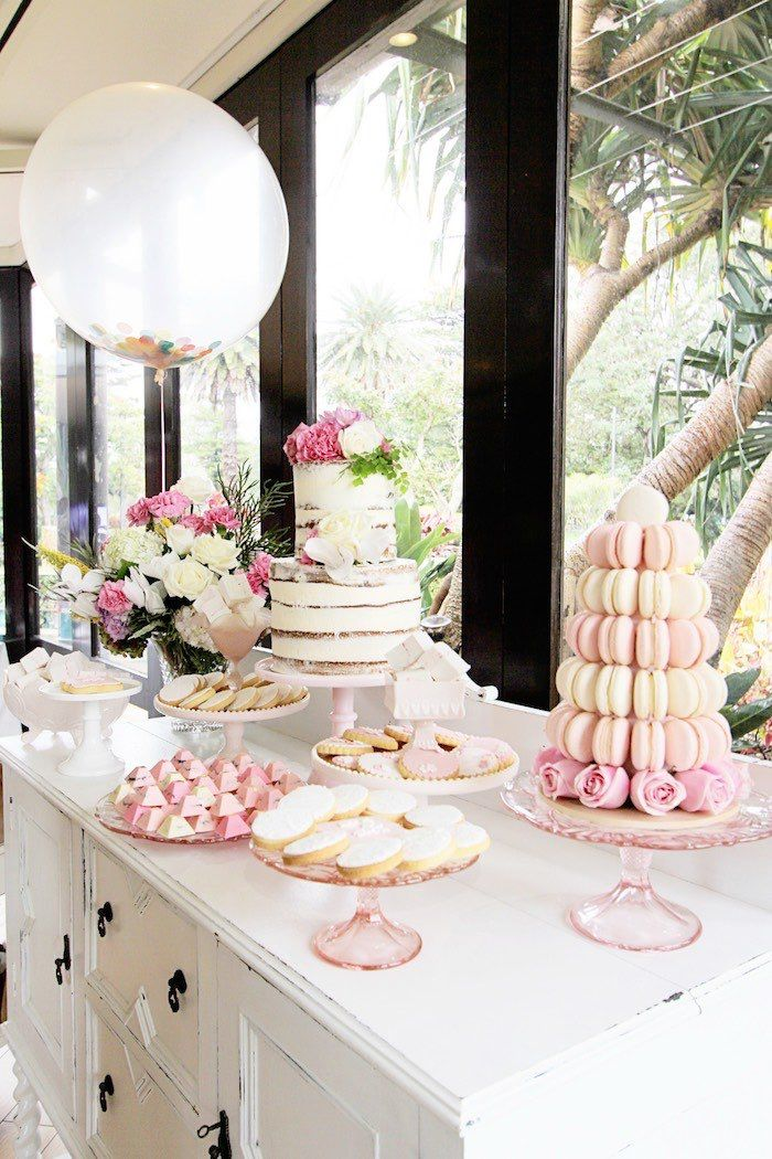Pretty In Pink Baptism Dessert Table Party Parties Pinterest