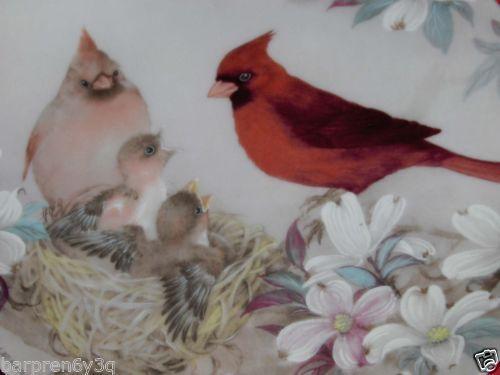 Vtg Lena Liu Cardinal Morning Serenade Plate 1989 Bird Family Porcelain Dish