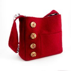 Felted red wool shoulder bag OOAK from by rescuedbykathleen, $45.00