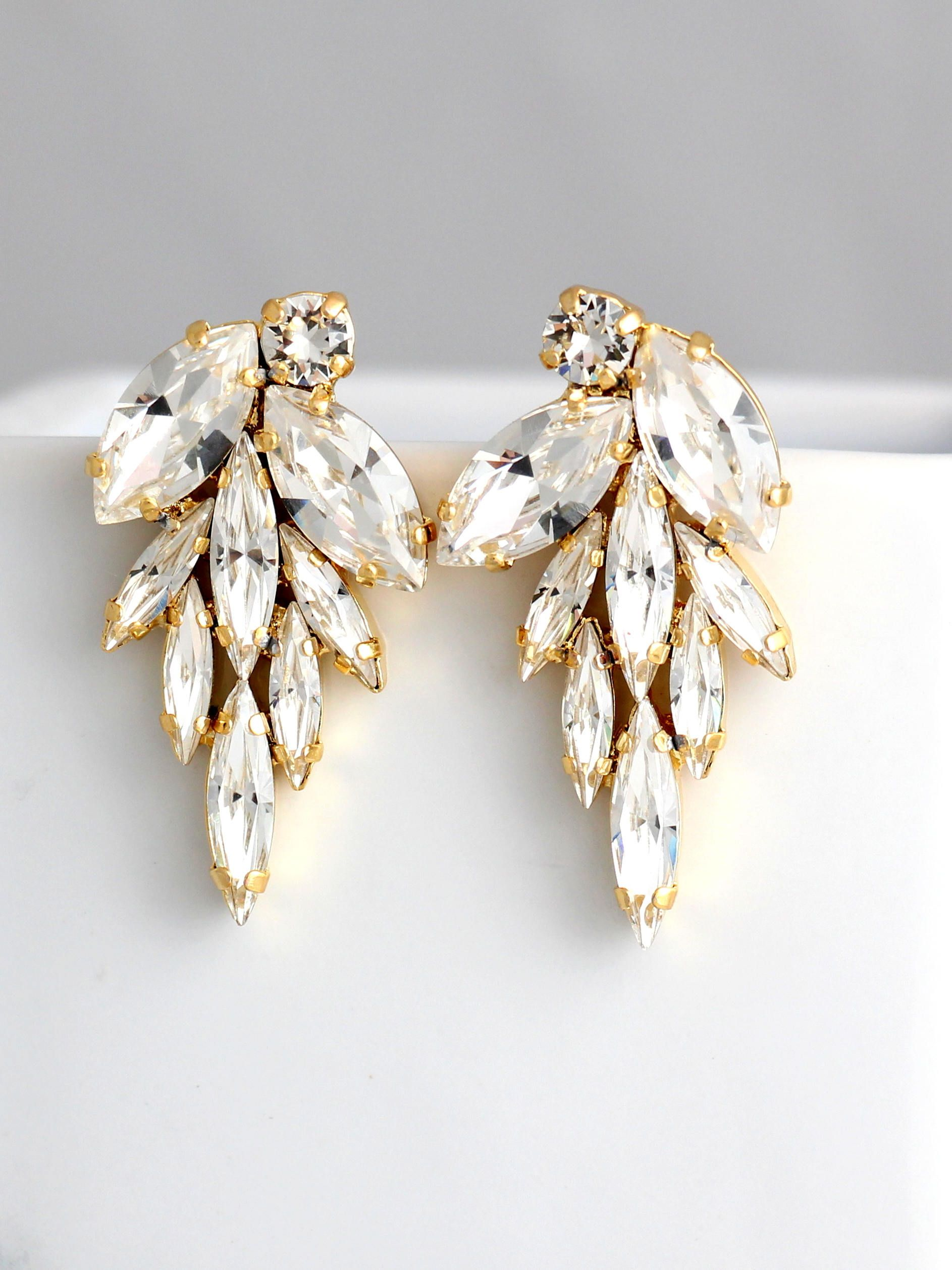 White Crystal Bridal Statement Earrings Silver Wedding Jewelry Swarovski Chandelier Trending