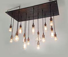 Rustic Chandelier: Industrial Lighting, Urban Chandelier, Modern Lighting, Industrial Chandelier. Reclaim Wood Chandelier