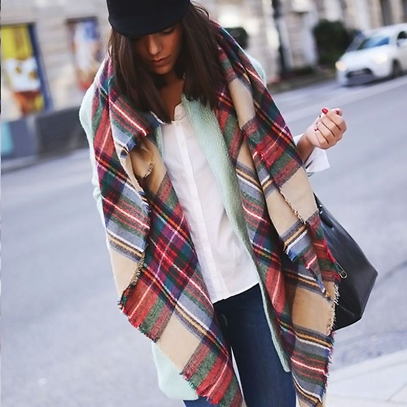 d7696291852 Blanket Oversized Tartan Scarf Wrap Shawl Plaid Cozy Checked Pashmina Women  Perfectly on trend this Fall