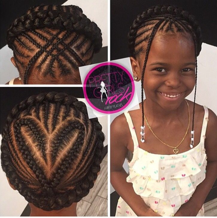 Braids With Heart Design And Halo Crown Natural Hairstyles For