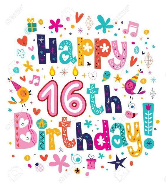Happy Sweet 16 Birthday 16th Birthday Card Happy 16th Birthday 16th Birthday Wishes