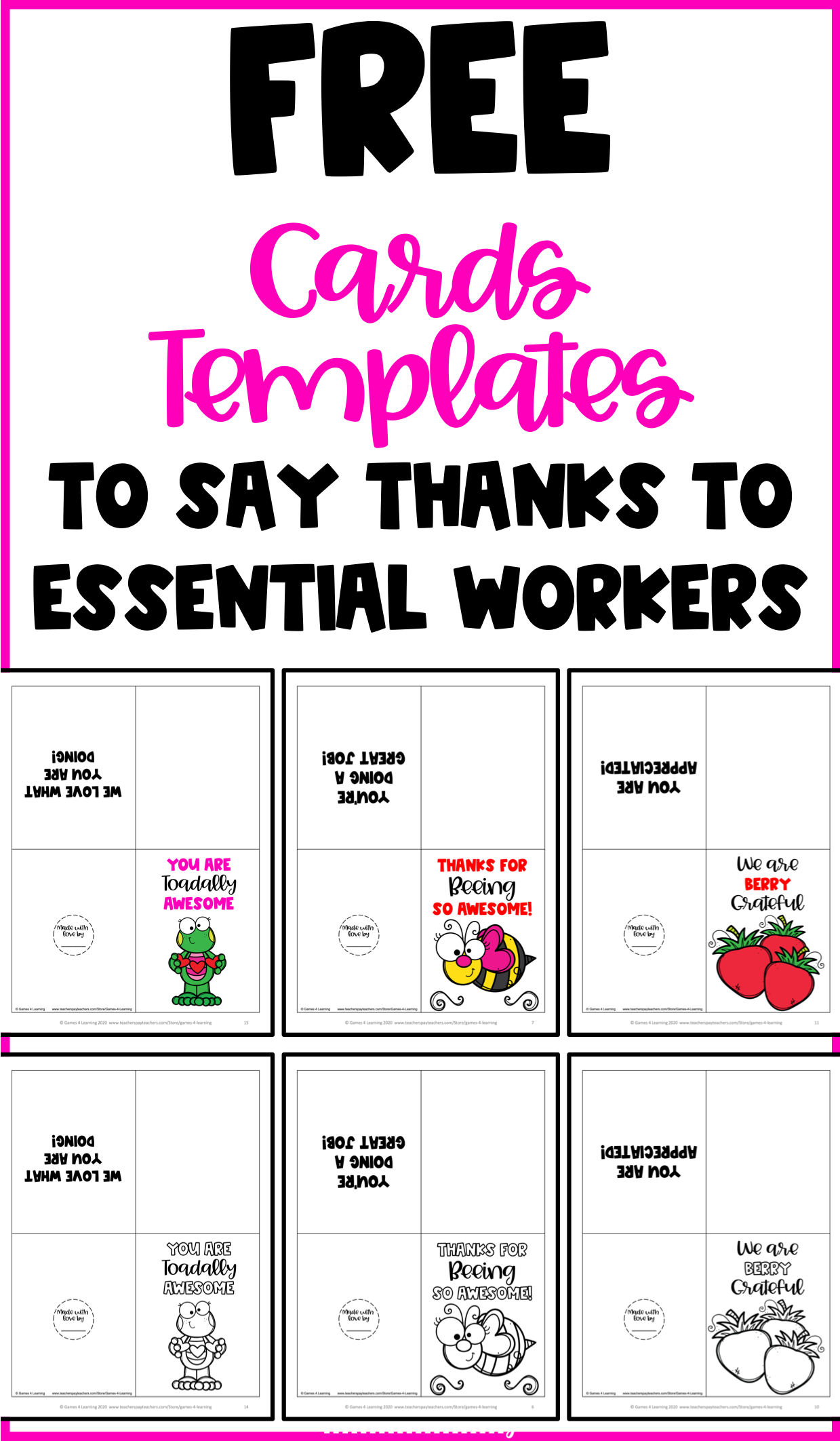Free Thank You Cards Templates To Thank Essential Workers Gratitude Cards Handmade Thank You Cards Thank You Card Template